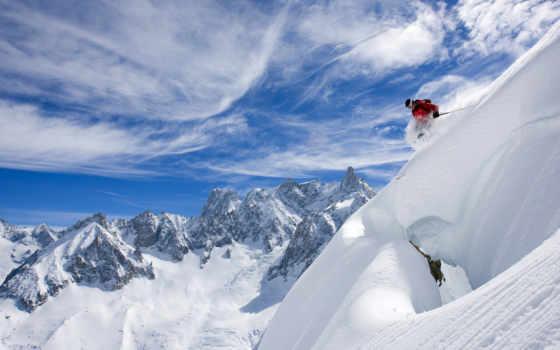 лыжи, горные, снег
