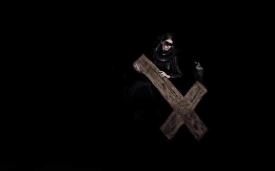 кросс, кресты, тематика, крестом, windows, вороном, стиле, белые, black, черном,
