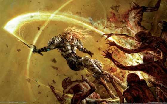 hellgate, london, монстры, кровь, игры, воин, меч, armour, картинка, девушка, game,