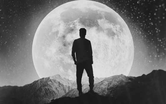 луна, одиночка, силуэт,
