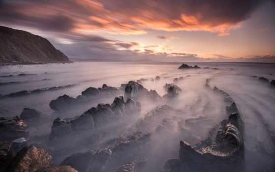 облако, небо, пляж, закат, камень, вечер, rock, clouds