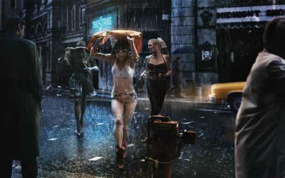 улица, зонты