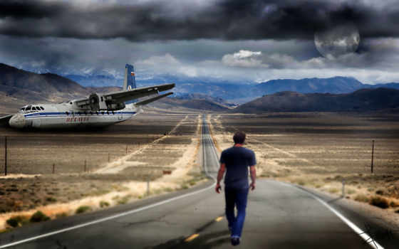 мужчина, дорога, горы