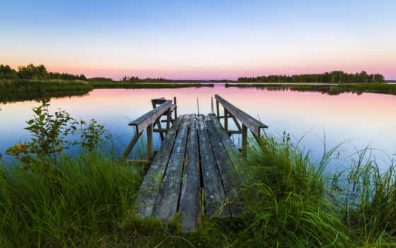 landscape, мост, трава