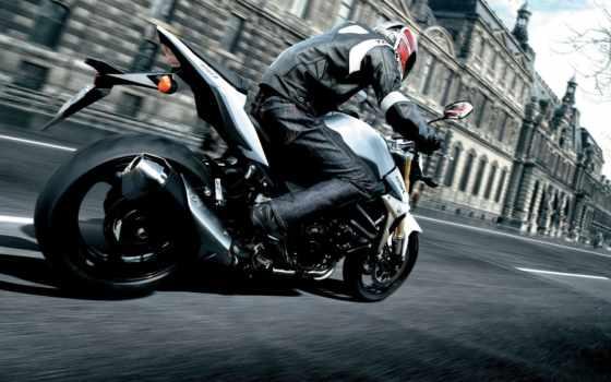 мотоцикл, город, мотоциклист