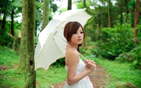 девушка, зонтом, devushki