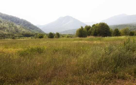 природа, картинка, landscape, горы, trees, трава, russian, margin, reki, дома,