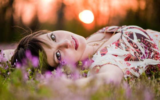весна, девушка, summer, цветами, поле, cvety, sun, devushki, красивые,