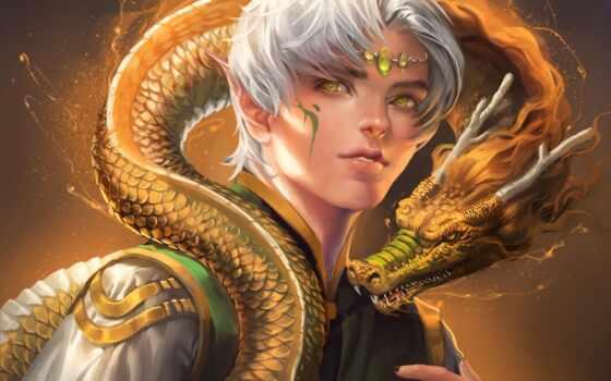 дракон, парень, sakimichan, art, шкала, эльф, fantasy, глаз, yellow, рогатый, девушка