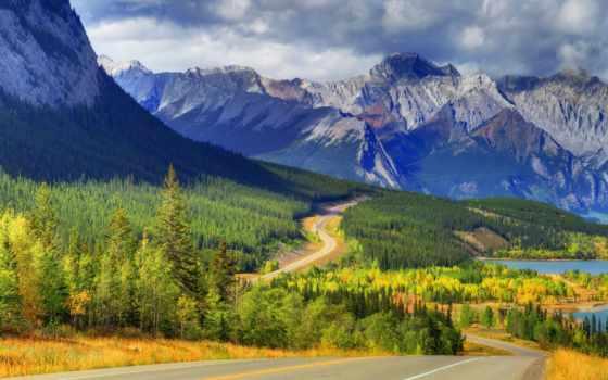 горы, лес, канада