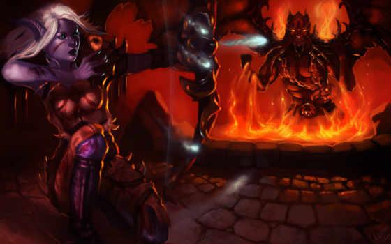 демоны, магия, огонь, фэнтези, битвы, elfy, лучники, devushki,