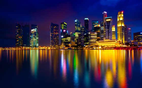 ночь, singapore, город, york, new,