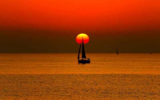 море, закат, лодка, sail, sun, яхта, небо,