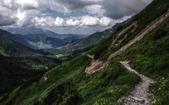 тропинка, горы, oblaka, природа, горные,