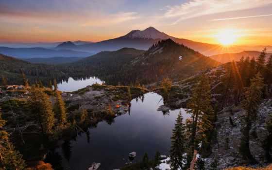 озеро, сердце, восход, закат, гора, montana, облако, amanec