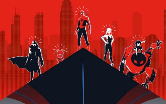 паук, мужчина, human, into, стих, parker, сквозь, universe, spiderman, art