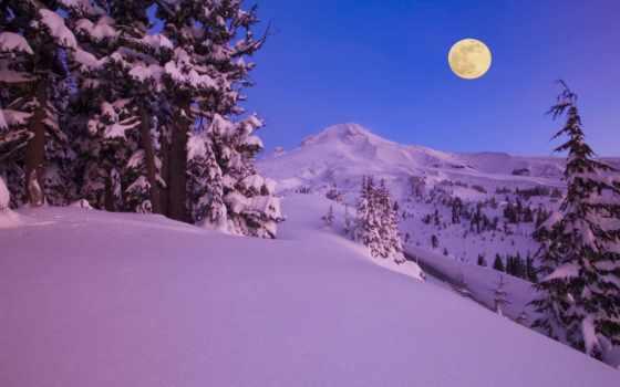 mount, free, капюшон, desktop, oregon, луна, winter,