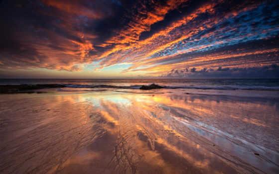 небо, песок, отражение, wet, море, закат, облако, beaches, ocean,
