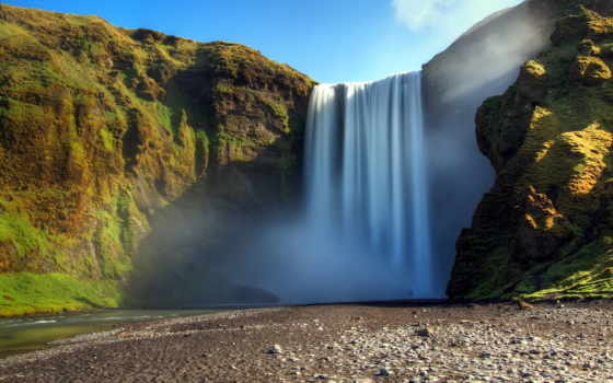 мох, водопад, поток, лес, природа, сила, скалы, дек, break, shadow, небо,