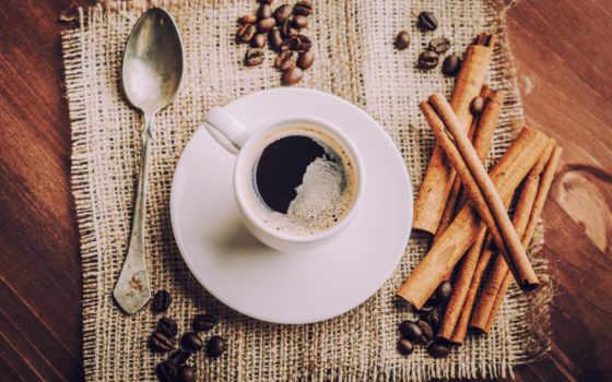 coffee, cup, блюдце, напиток, lozhok, зерна, cinnamon
