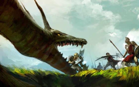 арт, лучник, дракон