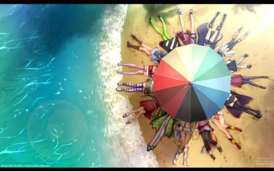 аниме, пляж, да