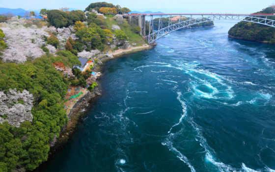 япония, мост, залив