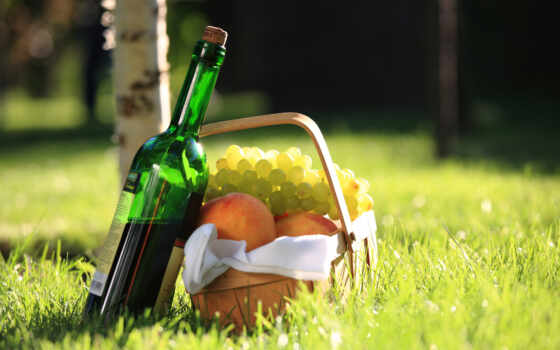 пикник, вино, бутылка, корзина, персики, виноград, картинка, еда,