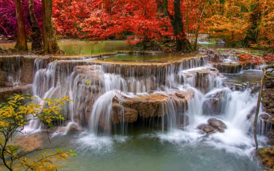ecran, cascades, fonds, eau, sur, maximumwallhd, fond, ces,