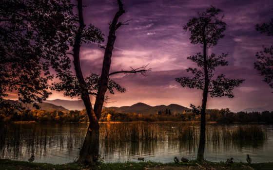oblaka, озеро, природа, картинка, небо, где, горы, бе, will, березы, пейзажи -,