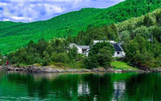 норвегия, landscape, река, лес, houses, hills, природа, free,
