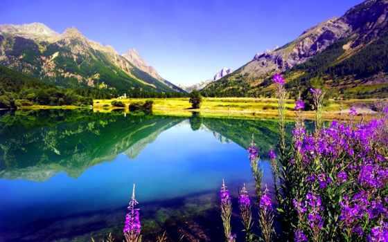 jezioro, góry, природа, стена, озеро,