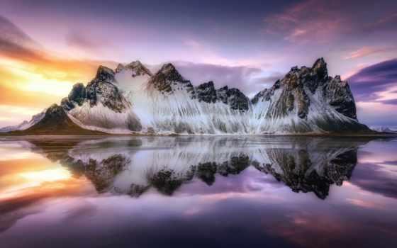 iceland, небо, отражение, горы, гора,