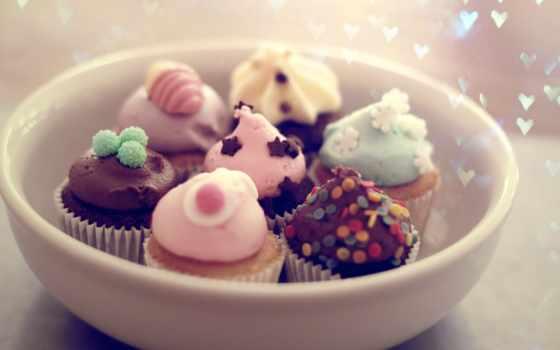 пирожные, десерт, табличка, еда, кексы, настроение, праздник,