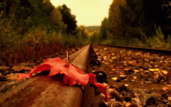 осень, рельсы