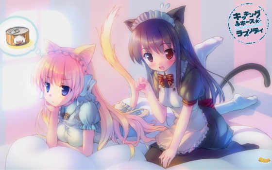 anime, neko, nekomimi, kicking, takoyaki,  hair, maids, hamu, ears, animal, girls,,