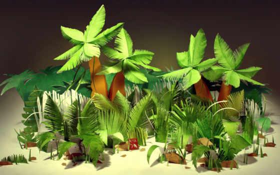 пальмы, листья, кусты