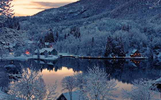 норвегия, winter, снег, деревя, зимой,