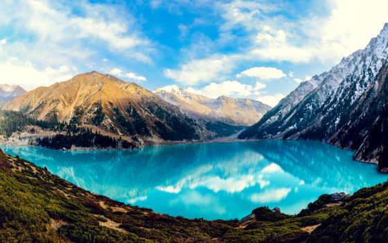 озеро, большое, алматинское, летом,
