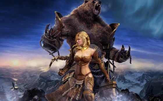 медведь, девушка, guild, фэнтези, wars, north, глаз,