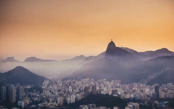 rio, janeiro, туман, вечер, botafogo, corcovado, brazil, mountains, christ,