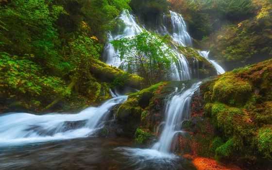 природа, natural, красавица, panther, falls, река, заводь, oregon, сша,