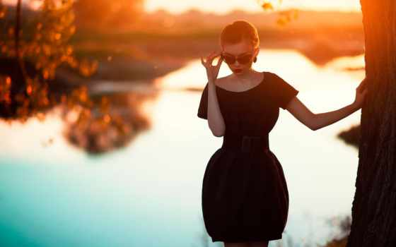 девушка, закат, oxana, мансурова, озеро, модель, очки,