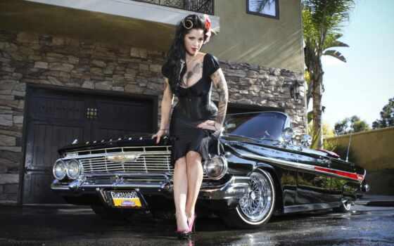 lowrider, девушка, модель, sexy, case, babe, art, load, cadillac, car, бикини