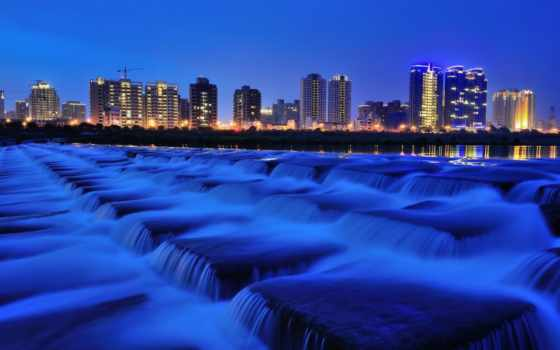 water, поток, fountain, building, ночь, ноутбук, mobile, телефон,