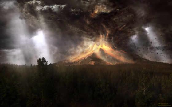 извержение, вулкана, вулкан,