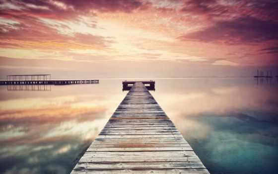 спокойствие, море, мост, вечер, закат, wooden, небо, оранжевый, гладь, water,