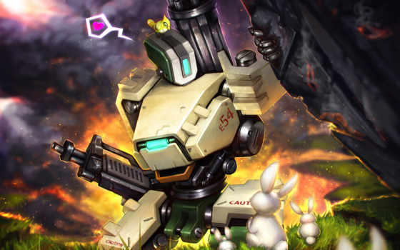overwatch, art, bastion, robot, fan, blizzard, fonds, ecran, игры,