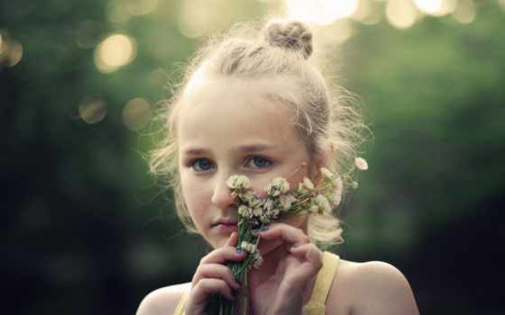 девушка, цветы, yellow, portrait, abyss