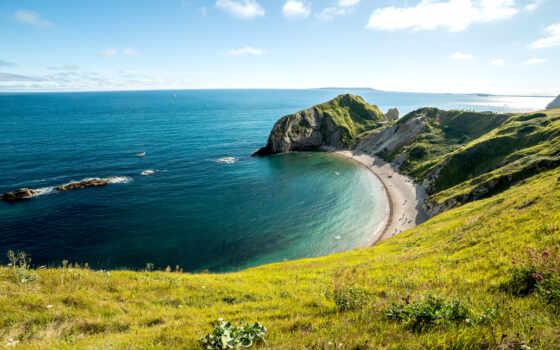 durdle, дверь, природа, побережье, ук, manche, море, красивый, card, лукоморье, горизонт